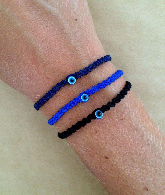 Blue Evil Eye Braided Unisex Friendship Macrame by IzouBijoux- nylon cord, evil eye bead