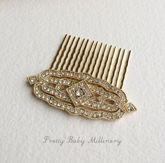 Gold hair comb Art Deco hair Comb gold by PrettyBabyMillinery, $42.00