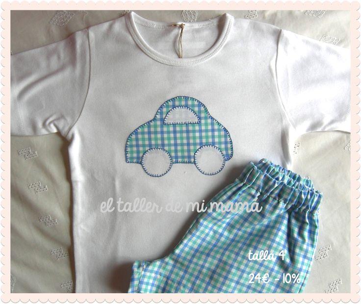 """El taller de mi mamá - Ropa, Decoración y Regalos personalizados para niñas y niños: conjuntos de verano """"OUTLET"""" Coche azul"""