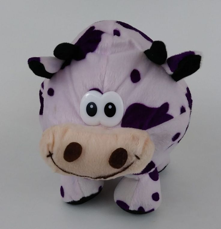 "11"" Pink Cow Purple Spots Plush Round Stuffed #Unbranded"