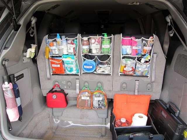 "Tips on organizing the trunk or ""way back"" area of your car.  This blogger even posts a list of everything she keeps in her car for the grown-ups and kiddos.  Very, very helpful."