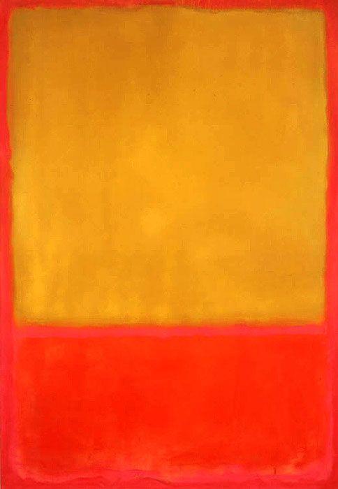"""Марк Ротко -  Охра на красном 1954. Художник цветового поля.  """"Простое выражение сложной мысли""""."""