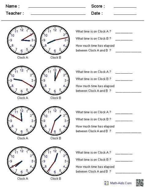 Elapsed Time Worksheets-This site generates clock times in