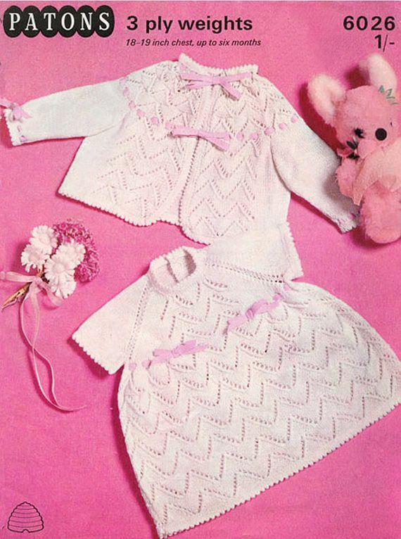 PDF Vintage Baby Girl Angel Dress  Knitting Pattern