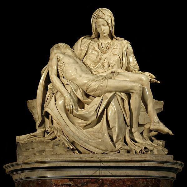 The Pietà (1498–1499) by Michelangelo Buonarroti, depicting the story of the mother holding the Christ