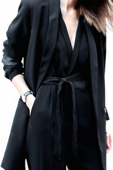 Black on black; black jumpsuit; black boyfriend blazer; chic, edgy, sophisticated, appropriate for artsy/trendy workplace.