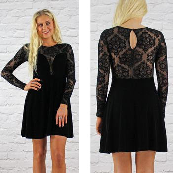 Motel Black Velvet Skater Dress With Long Lace Sleeves & Back Available Instore And Online www.pinkcadillac.co.uk