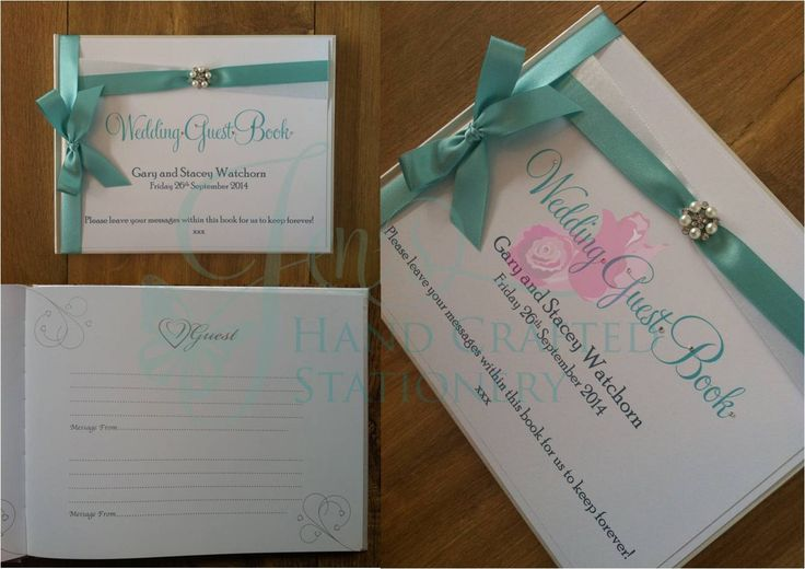 Mint green wedding guest book with diamante and pearl embellishment www.jenshandcraftedstationery.co.uk www.facebook.com/jenshandcraftedstationery