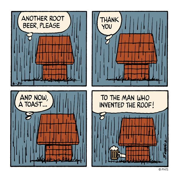 Just glad Snoopy's inside for a change!
