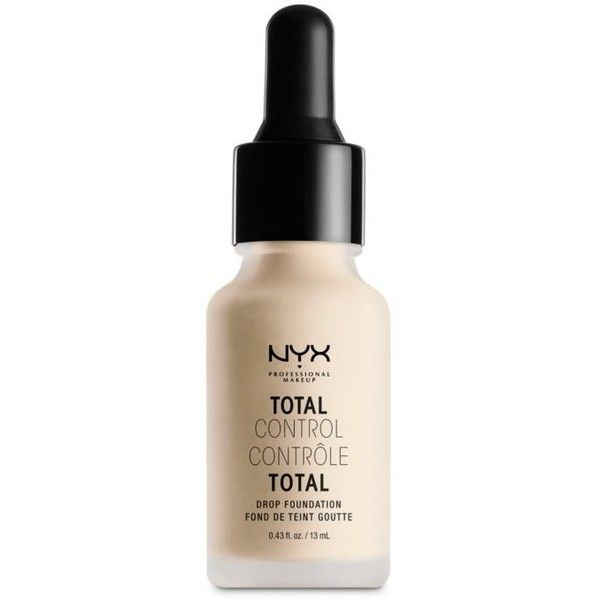 Nyx Professional Makeup  Total Control Drop Foundation ($14) ❤ liked on Polyvore featuring beauty products, makeup, face makeup, foundation, open miscellaneous, nyx foundation and nyx