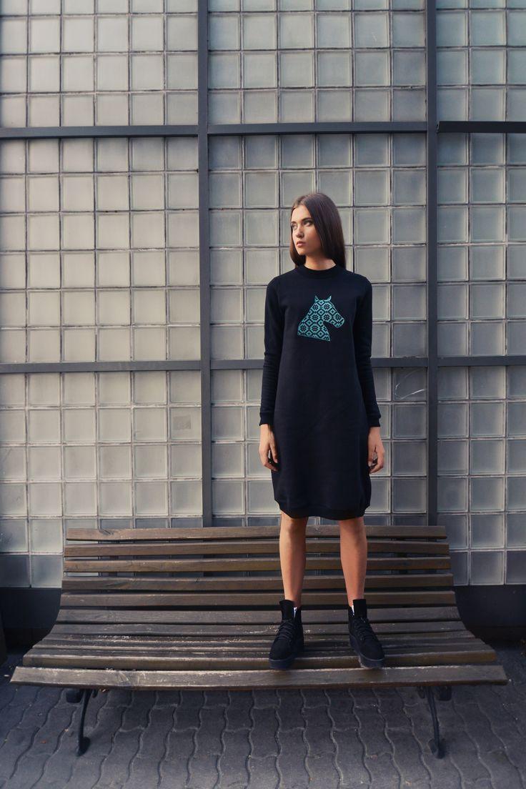 urban uniform #7 = folk head sweatshirt dress + black head platform shoes
