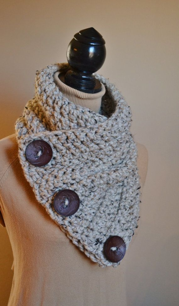 The Wooly Warm Cowl- crochet button cowl, wool blend, easy care, more colors and button options available