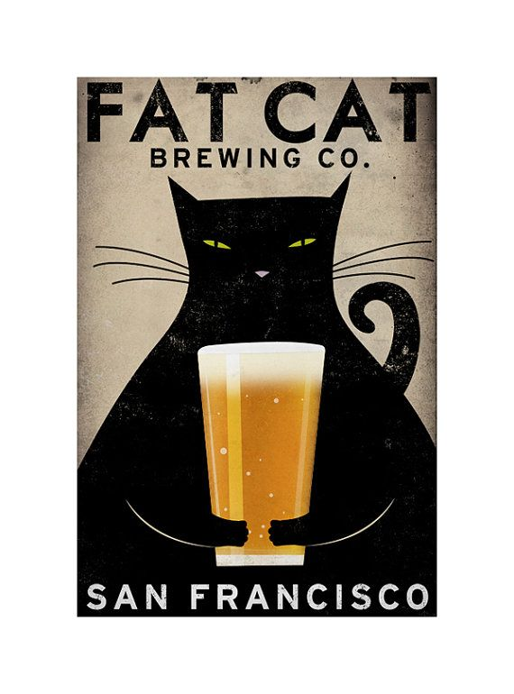 MADE to ORDER Fat Cat Brewing Company Black Cat Graphic Art Illustration Stretched Canvas Wall Art 18x24x1.5 SIGNED