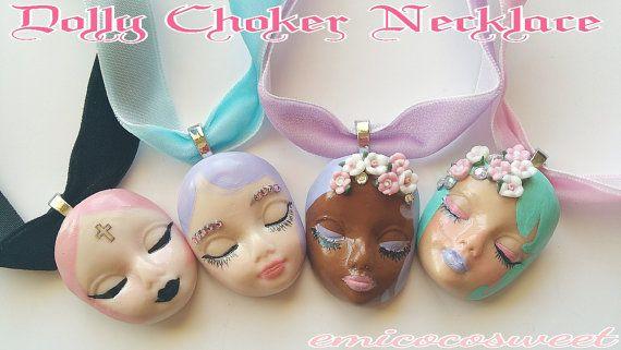Kawaii Lolita Doll Head Choker Collar by emicocosweet on Etsy