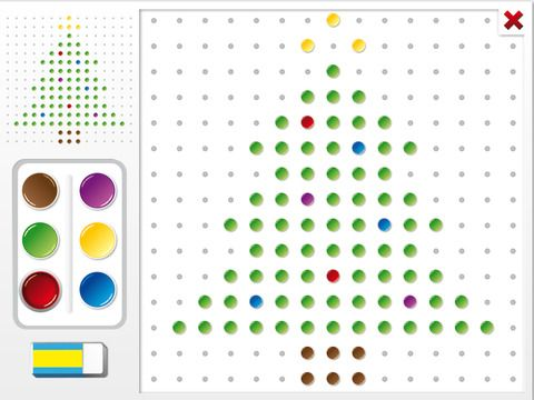 Christmas Pegboard by Cleverkiddo is a pegboard app where the child has to copy a christmas themed template unto a pegboard.