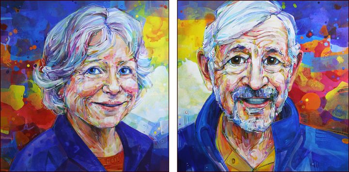 Matched portraits of a couple.