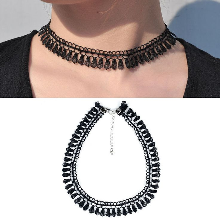 Newest  fashion jewelry accessories Bohemia white &black Lace tassel Tattoo choker necklace for couple lovers'  N161