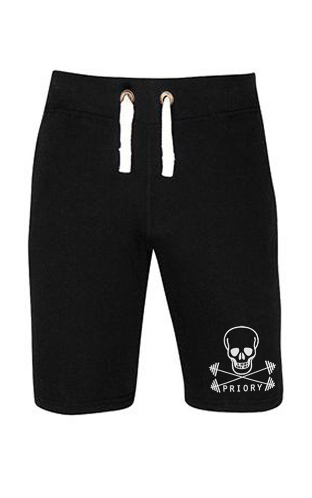 House of Priory Mens Campus ShortsSuper soft mens shorts from House of Priory! This great pair of black stretch cotton shorts feature a simple white print of the Priory Fitness logo which is a skull and...
