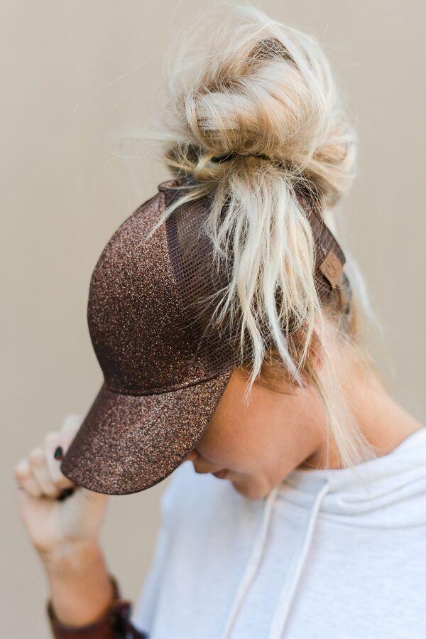 0e877de6a1c Messy Bun Baseball Cap - Bronze Glitter