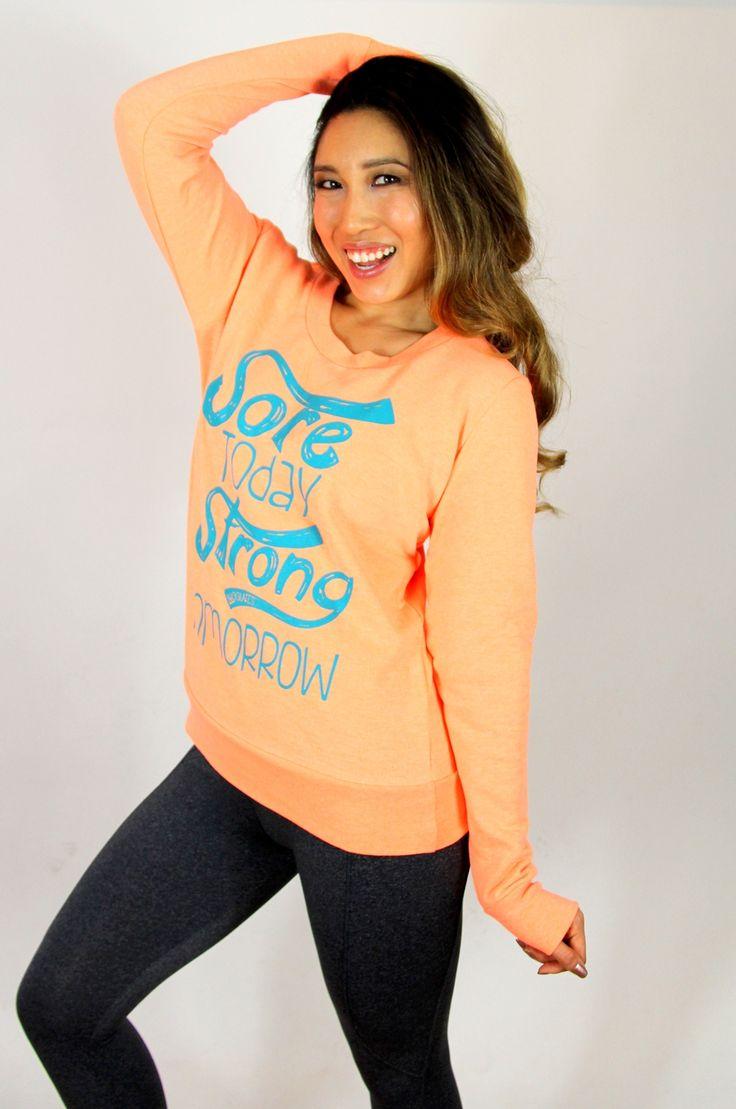 Sore Today Neon Orange Pullover. Blogilates Shop.