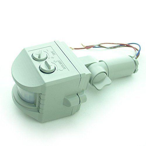 QUANS 85~265V LED PIR Motion Sensor Infrared Detector IR Pyroelectric Waterproof Gray For 10W to 100W LED Flood light