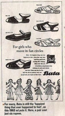 """1963 Bata India Ad: the """"happiest thing that happened to feet"""" #batashoes #bata120years #advertising"""