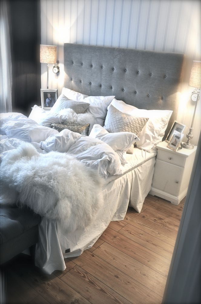 Gray White Bedroom Love The Buttoned Headboard