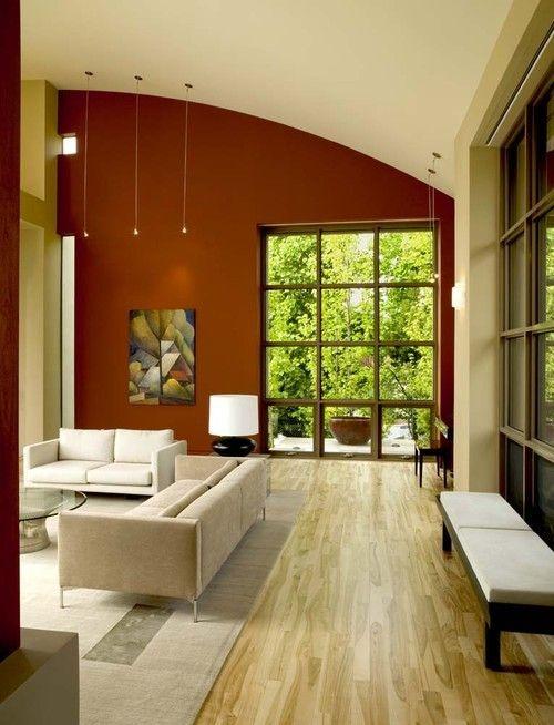 Hervorragendes Beispiel für ein Wohnzimmer Akzent Wand erstellt von Farbe, in diesem Fall der Designer hat beschlossen, eine Akzent Wand erstellen, die im krassen Unterschied zu den anderen Farbgebung im Raum ist.