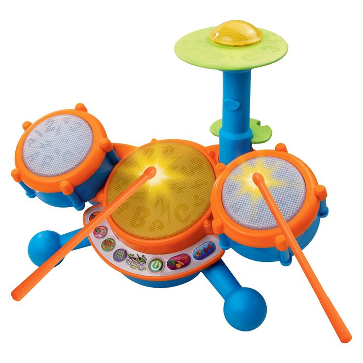 Get ready for letters, numbers and rock n' roll with the KidiBeats Drum Set from VTech. This exciting, educational kids' drum set has 4 ways to play, each with tons of options for continuous fun. Your toddler can freestyle on the 4 different drum pads and cymbal with the included drumsticks for unstructured creative play, or he can play along with 9 pre-set melodies like rock, dance and pop. For more structured, educational learning your child can play letter or number games b...