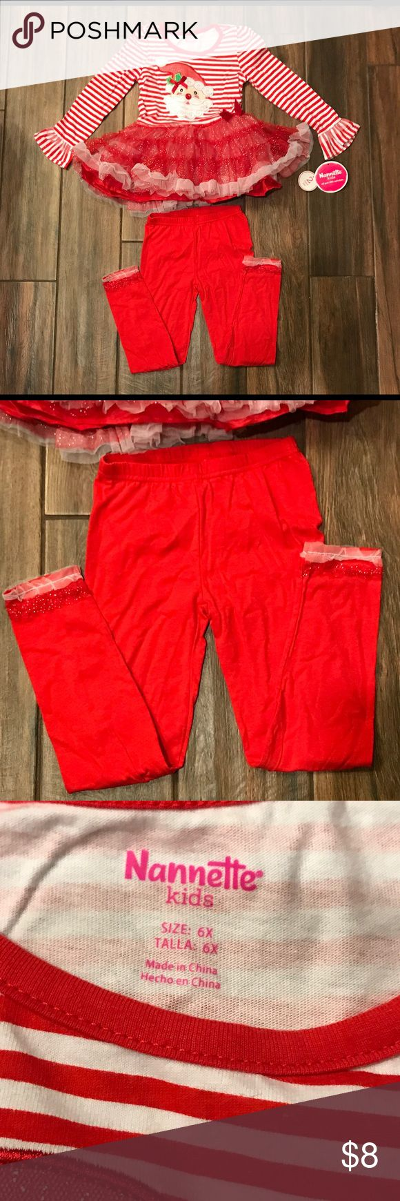 🎄 NWT Christmas outfit for little girl 🎄 NWT outfit for a little girl, bought for daughter but didn't fit; size 6x but fits more like a 5; perfect for someone who is between a 4 or 5; non-smoking home Nannette Kids Matching Sets
