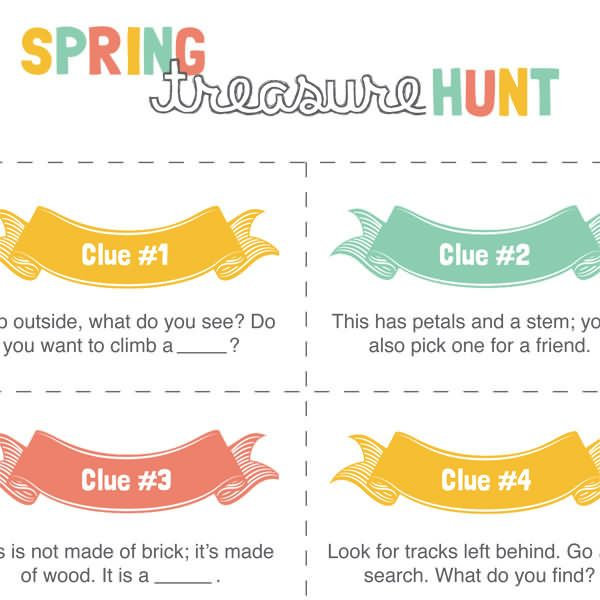 When spring has sprung, or when the weather feels like it's spring, send your kids outside for this spring treasure hunt!