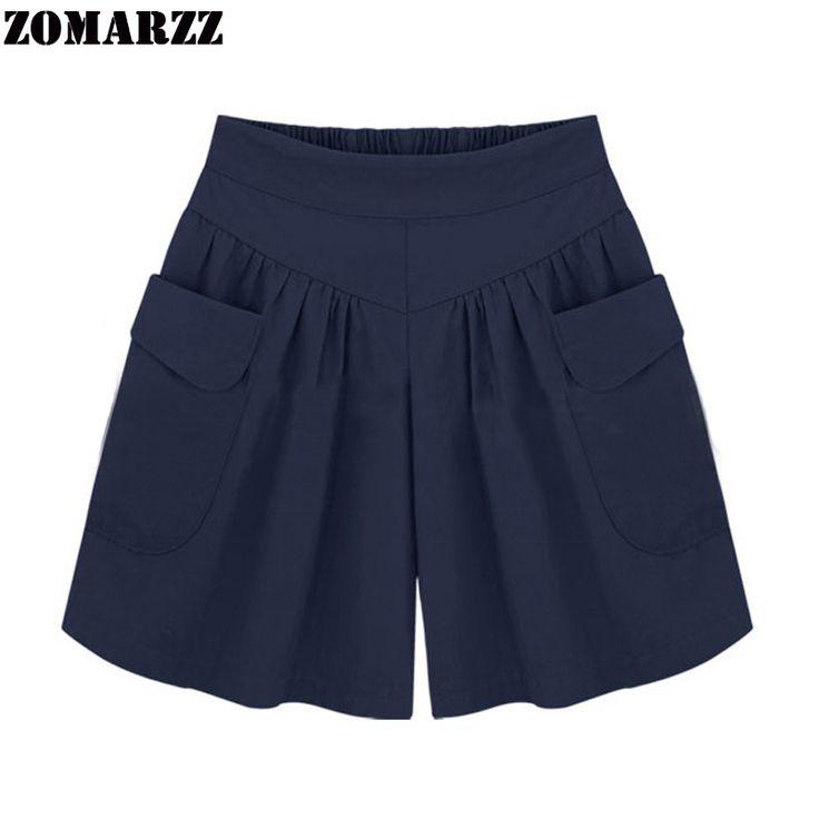 Summer Women Shorts Casual Loose Female Shorts feminino Solid Flare Shorts Large Size 3XL 4XL 5XL Pantalones Cortos Mujer 2017 #Affiliate