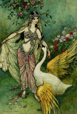 "@Lady Lady Jenny Wormwood - a new favorite fairy tale illustrator for me!!!  Warwick Goble's ""Leda and the Swan"""