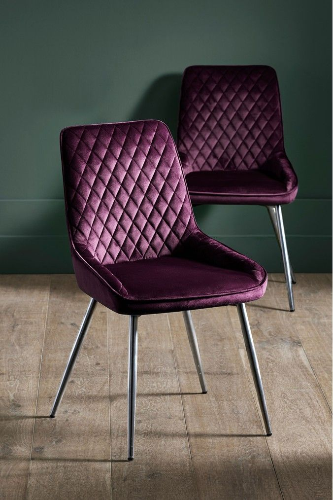 Next Set Of 2 Hamilton Dining Chairs Purple Dining Chairs