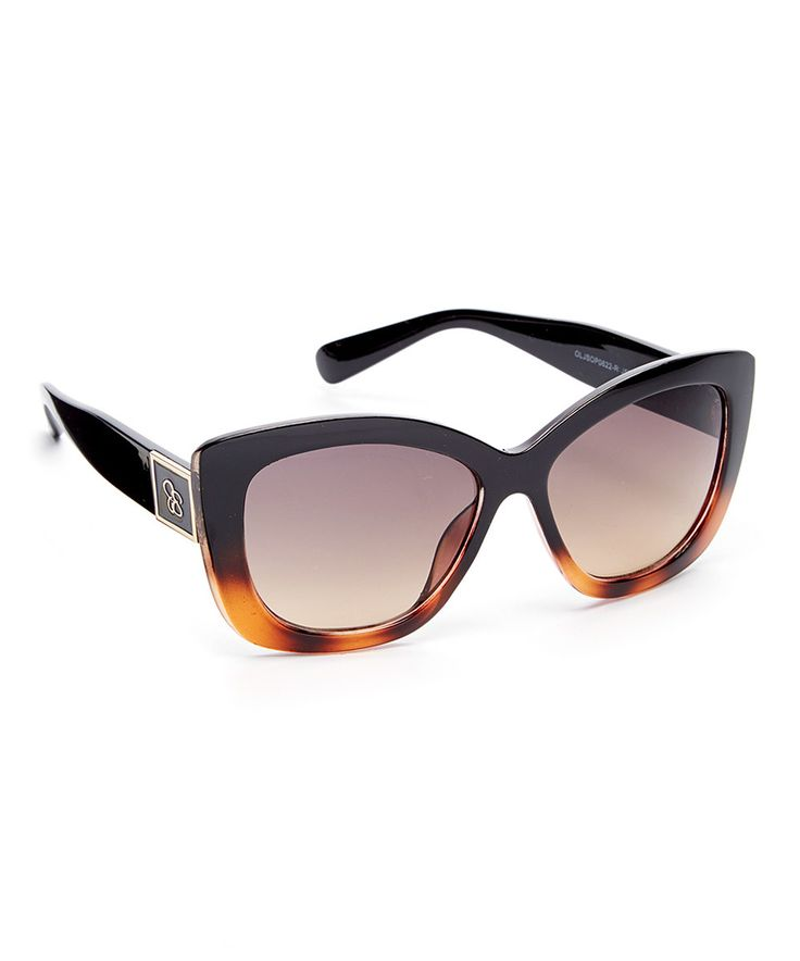 This Jessica Simpson Collection Black & Tortoise Oversize Cat-Eye Sunglasses by Jessica Simpson Collection is perfect! #zulilyfinds