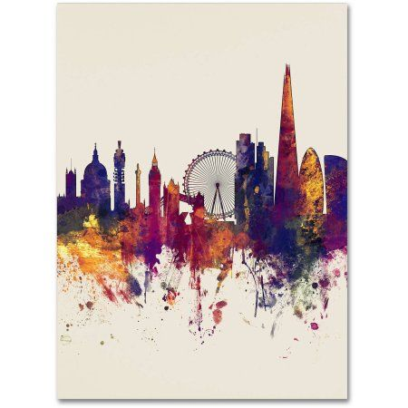 Trademark Fine Art London Skyline Tall Beige Canvas Art by Michael Tompsett, Size: 14 x 19, Multicolor