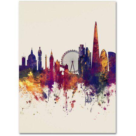 Trademark Fine Art London Skyline Tall Beige Canvas Art by Michael Tompsett, Size: 14 x 19, Multicolor