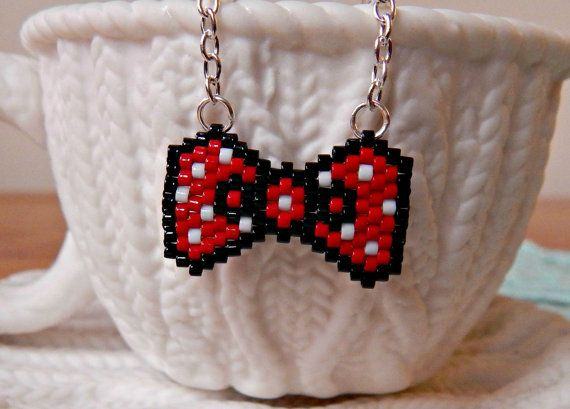 Beaded Minnie Mouse Inspired Bow Necklace by TheCornerOfCraft