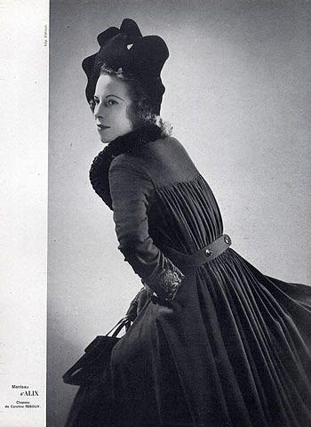 Alix (Germaine Krebs) 1941 Winter Coat, Photo Elshoud, Caroline Reboux