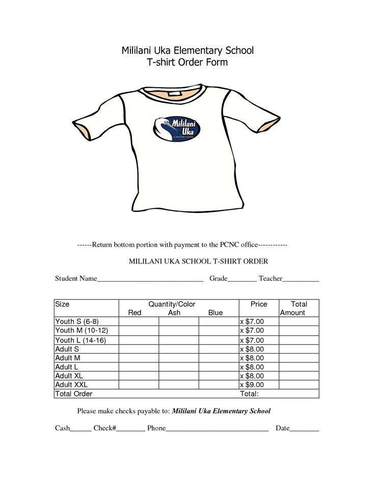 School T-Shirt Order Form Template