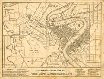 This map of Brisbane shows points of interest, churches, post offics, main buildings roads and rivers. The central business district is shown and a radius of about two kilometres around the town.