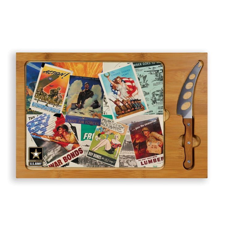 The Poster Collage Icon US Army Cheese Board is a 3-piece set with solid rubber wood base, bamboo rim, tempered glass lid, and a cheese knife. A Great gift.   Visit SportsFansPlus.com for Details.