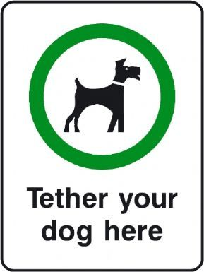 Tether Your Dog Here playground safety sign