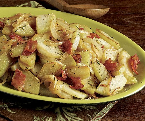 Sautéed Chayote with Sweet Onion and Bacon