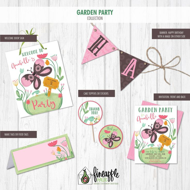 Garden Party Invitation, Garden Birthday Invite, Girl Birthday, Garden Party, Butterfly, Bird, Flowers, pink, purple, garden, Invitations by FineapplePair on Etsy