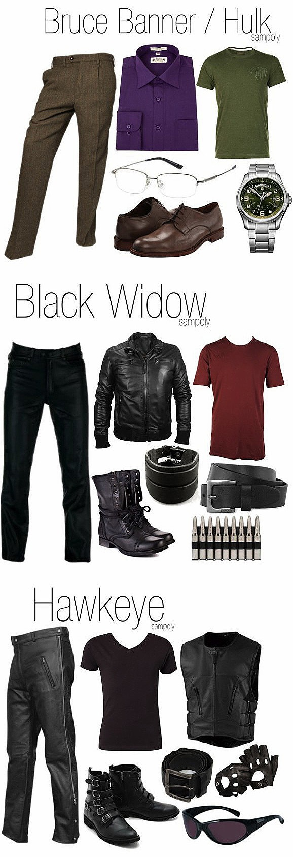 """Part 2 Men's versions of Marvel's """"The Avengers"""" outfits - Bruce Banner/Hulk, Black Widow and Hawkeye!"""