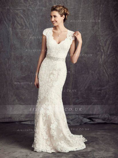 V Neck Cap Sleeve Sheath Lace Wedding Dress with Crystal Ribbon _2
