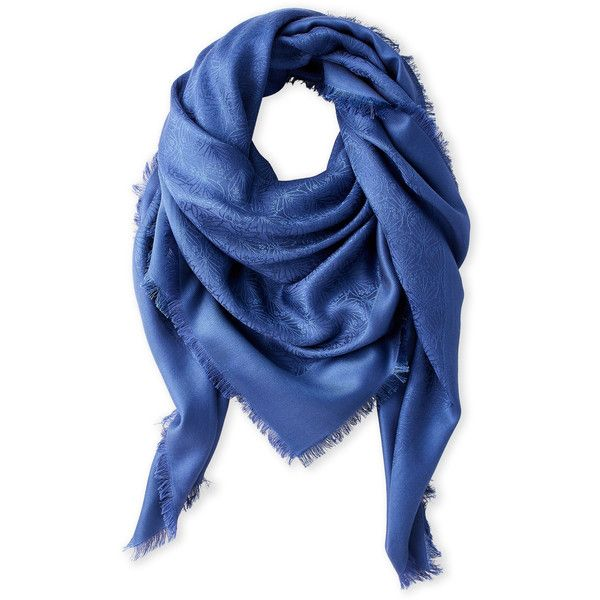 Liberty Of London Jacquard Wool Blend Scarf ($100) ❤ liked on Polyvore featuring accessories, scarves, blue, blue scarves, liberty scarves, blue shawl and woven scarves