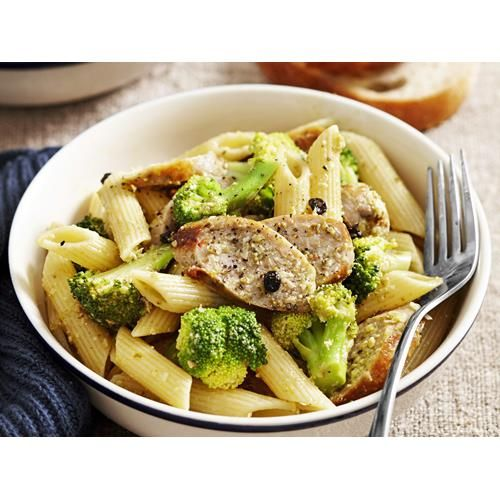 Sausage and broccoli pasta recipe - By Woman's Day, This hearty sausage pasta dish adds a taste of Italy with broccoli, parmesan and pesto. A quick meal for the family.