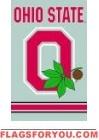 "Ohio State Buckeyes ""O"" Applique Banner Flag 44"" x 28"""